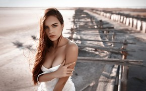 Picture look, landscape, sexy, model, portrait, makeup, dress, hairstyle, brown hair, beauty, in white, posing, bokeh, …