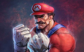 Picture wallpaper, nintendo, game, blue eyes, jeans, mario, suspenders, overalls, mario bros