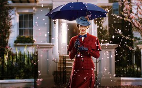 Picture red, house, background, butterfly, hat, umbrella, petals, garden, fantasy, costume, gloves, poster, Emily Blunt, Emily …