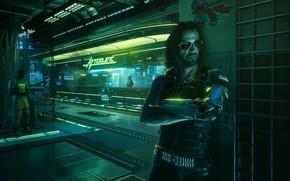 Picture Night, street, man, Night city, Cyborg, cd project red, Cyberpunk, 2077, Johnny Silverhand