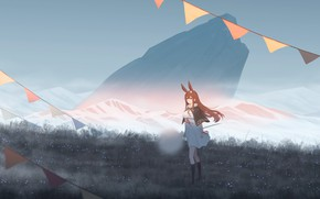 Picture girl, mountains, nature, dandelion, rabbit, flags, ears