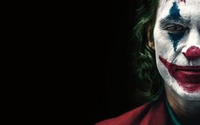 Picture face, Joker, black background, Joker, makeup, Joaquin Phoenix, Joaquin Phoenix