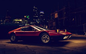 Picture lights, Ferrari, sportcar, night city, Ferrari berlinetta boxer