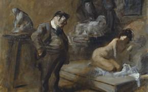 Picture erotic, picture, genre, Jean-Louis Foren, Jean-Louis Forain, The Artist's Studio