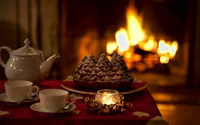Picture heat, tea, candle, kettle, pie, Cup, fireplace
