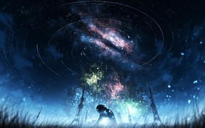 Picture the sky, night, girl, the milky way