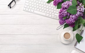 Picture flowers, coffee, spring, glasses, Cup, keyboard, lilac