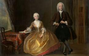 Picture oil, picture, Cornelis Trost, Музицирующая Пара, Cornelis Troost, 1743