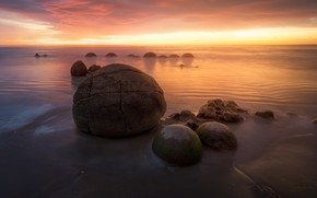 Picture sea, beach, the sky, clouds, light, sunset, stones, dawn, the evening, morning, horizon, pond, stones, …