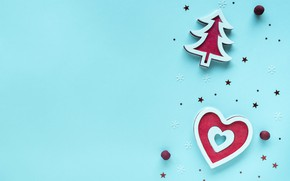 Picture winter, snowflakes, holiday, red, heart, Christmas, New year, herringbone, heart, stars, blue background, Christmas decorations, …