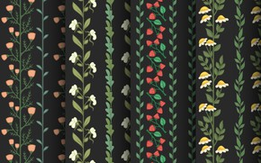 Picture flowers, background, pattern, black, texture, pattern