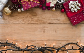 Picture decoration, New Year, Christmas, gifts, garland, Christmas, wood, New Year, decoration, Merry