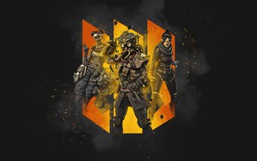 Picture background, collage, trio, black background, Apex Legends