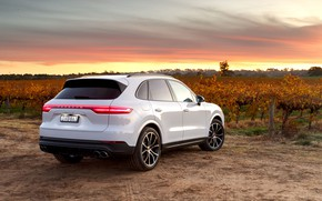 Picture sunset, Porsche, rear view, 2018, crossover, Cayenne S