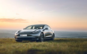 Picture the sky, grass, sunset, horizon, Model, Tesla, Tesla Model 3, Tesla Model