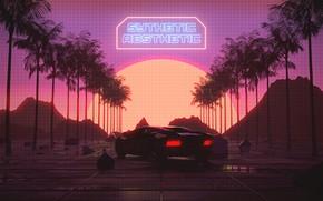 Picture Sunset, The sun, Auto, Music, Lamborghini, Machine, Style, Palm trees, Art, 80s, Style, Neon, Rendering, …