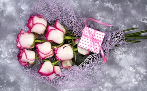 Picture flowers, gift, roses, petals, love, pink, white, pink, flowers, beautiful, romantic, valentine's day, petals, roses, ...