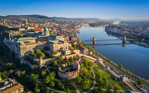 Picture bridge, river, building, panorama, Hungary, Budapest, Buda Castle
