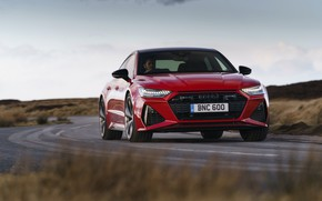 Picture road, red, Audi, RS 7, 2020, Sportback, UK version, RS7 Sportback