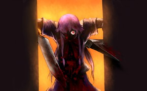 Picture monster, knife, horror, madness, Mirai Nikki, Future diary, burning eyes, blood spatter, Yuno Gasai, obsessed, …