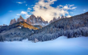 Picture winter, forest, snow, mountains, Italy, Church, Italy, The Dolomites, South Tyrol, South Tyrol, Dolomites, St …