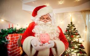 Picture money, piggy, Santa Claus