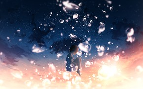 Picture the sky, drops, sunset, fantasy, girl