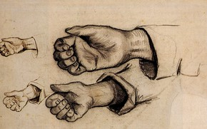 Picture hand, fist, sleeve, Vincent van Gogh, Four Hands