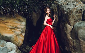 Picture sadness, leaves, girl, pose, stones, mood, rocks, sadness, plants, hands, brown hair, Asian, red dress, …