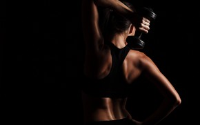 Picture pose, back, fitness, dumbbells, fitness, weight, dumbbells