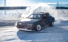 Picture drift, ford, winter, drift car, sierra, ford sierra