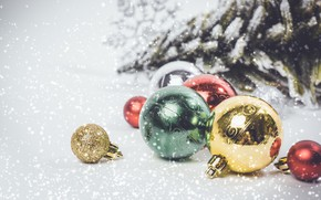 Picture snow, decoration, balls, New Year, Christmas, Christmas, balls, snow, New Year, decoration, xmas, Merry, fir …