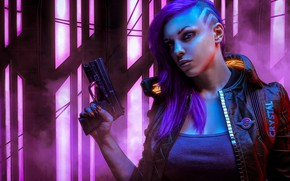 Picture Girl, The game, Gun, Face, Weapons, Art, Cyborg, CD Projekt RED, Cyberpunk 2077, Cyberpunk, Cyberpunk, …