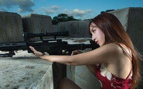 Picture girl, face, hair, sniper, rifle