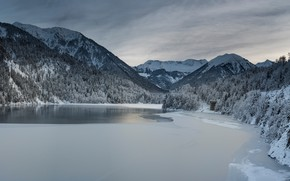 Picture winter, frost, forest, snow, mountains, lake, shore, tops, ate, Alps, gazebo, pond, snow