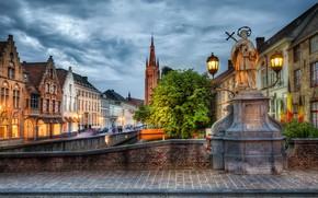 Picture street, HDR, home, lights, Belgium, bridge, Belgium, Bruges