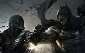 Picture Batman, comics, characters, confrontation face to face