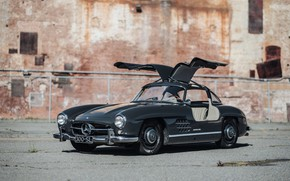 Picture Grey, Mersedes Benz 300SL, Classic car, Gull-Wing