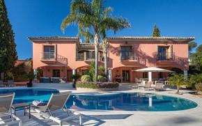Picture palm trees, Villa, pool, architecture, terrace, Villa in El Madroñal