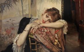 Picture 1883, Finnish painter, Albert Gustaf Aristides Edelfelt, Albert Edelfelt, The Parisienne, Parisian, Albert Gustaf Aristides …