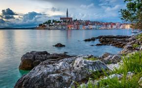 Picture sea, the city, stones, building, home, Croatia, Rovinj, Istria, the Peninsula, Istrian County