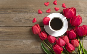 Picture flowers, coffee, bouquet, morning