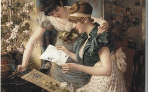 Picture GAMPENREDER, THE AMUSING LETTER, two women reading a letter