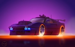 Picture figure, Future, Machine, Ferrari, Art, Concept Car, Illustration, Cyberpunk, Transport & Vehicles, Mike Patrick, by …