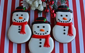 Picture photo, New year, Food, Cookies, Snowmen