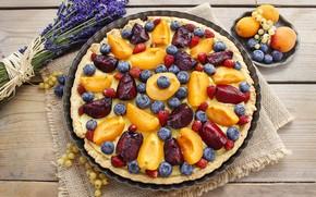 Picture pie, plum, currants, lavender, apricots, blueberries, tart