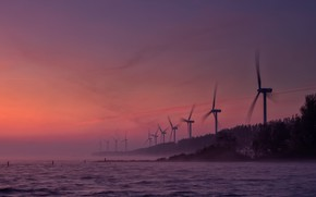 Picture sea, the evening, glow, wind power