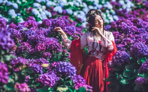 Picture girl, flowers, pose, style, mood, garden, dress, outfit, Asian, hydrangeas
