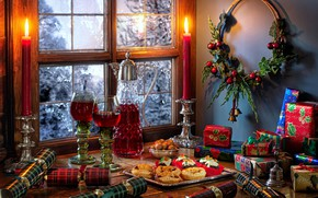 Picture style, wine, candles, glasses, window, Christmas, gifts, cakes, decanter