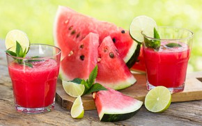 Picture leaves, table, watermelon, juice, lime, glasses, Board, slices, bokeh